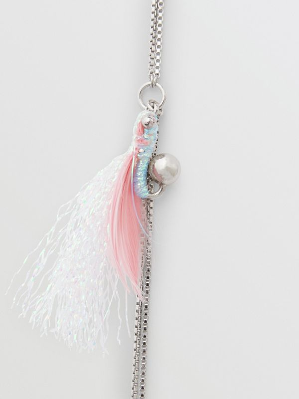 Long collier long plaqué palladium avec plume (Palladio) - Femme | Burberry - cell image 2