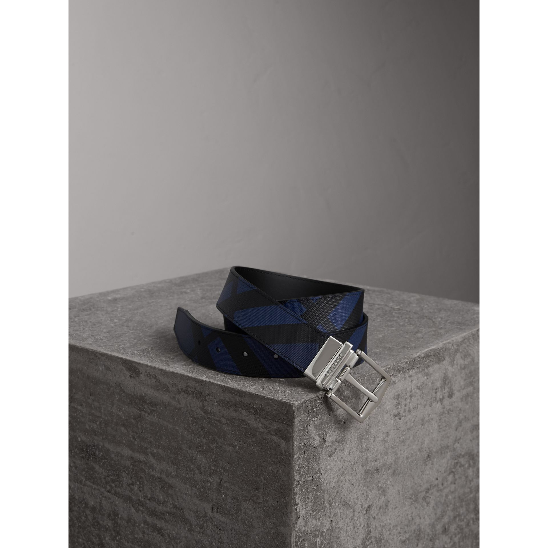 Reversible London Check and Leather Belt in Bright Lapis/black - Men | Burberry Canada - gallery image 1
