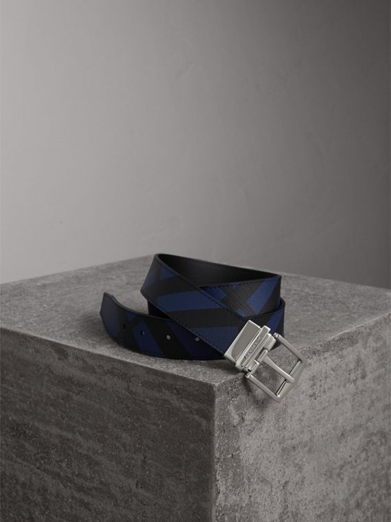Reversible London Check and Leather Belt in Bright Lapis/black