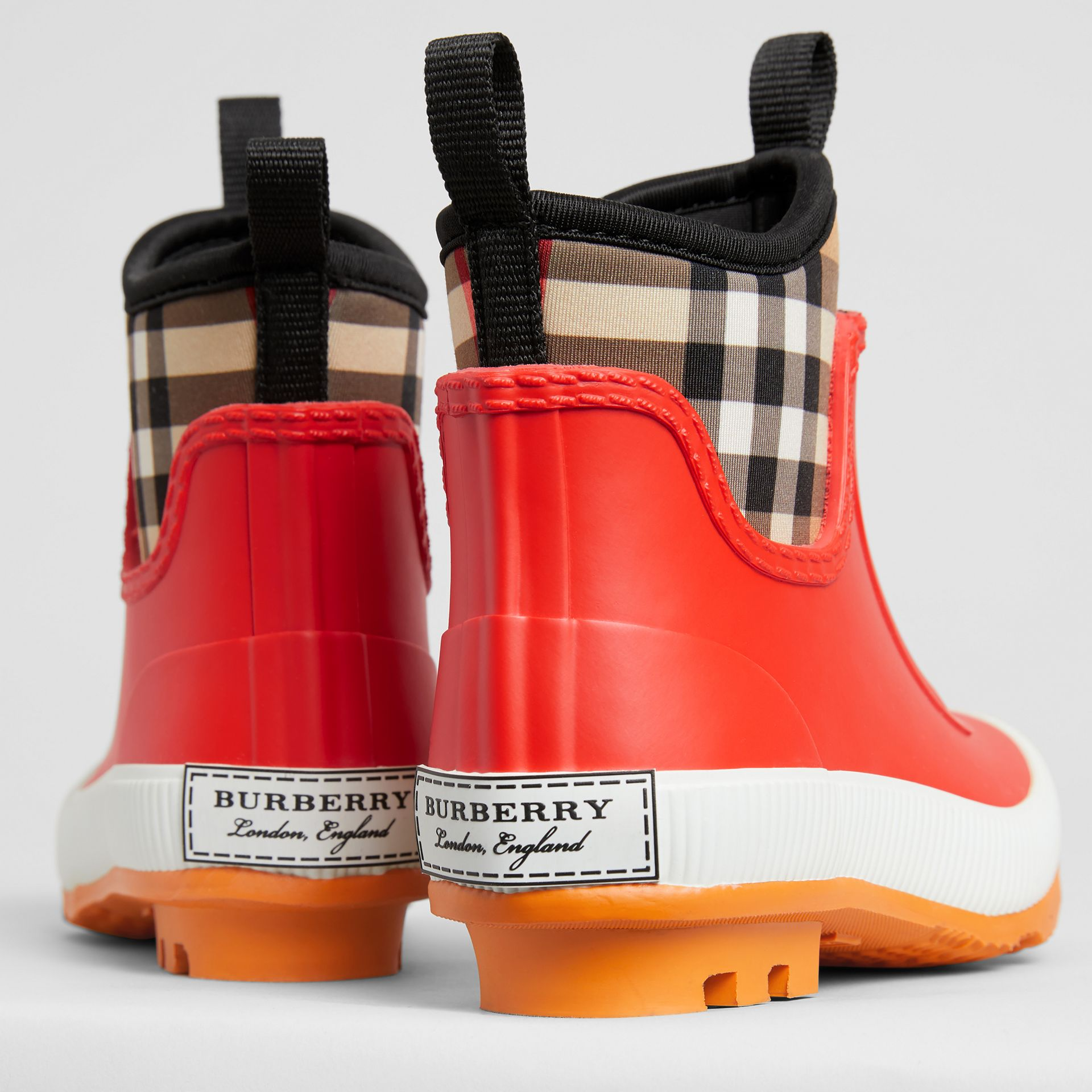Vintage Check Neoprene and Rubber Rain Boots in Bright Red | Burberry Australia - gallery image 1