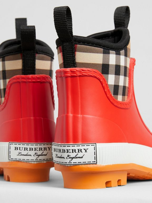 Vintage Check Neoprene and Rubber Rain Boots in Bright Red | Burberry United States - cell image 1