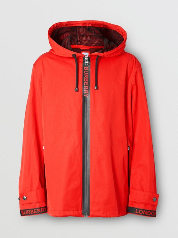 Logo Detail Nylon Cotton Twill Hooded Jacket in Bright Red
