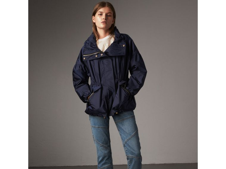 Packaway Hood Lightweight Rain Jacket in Bright Navy - Women | Burberry - cell image 4