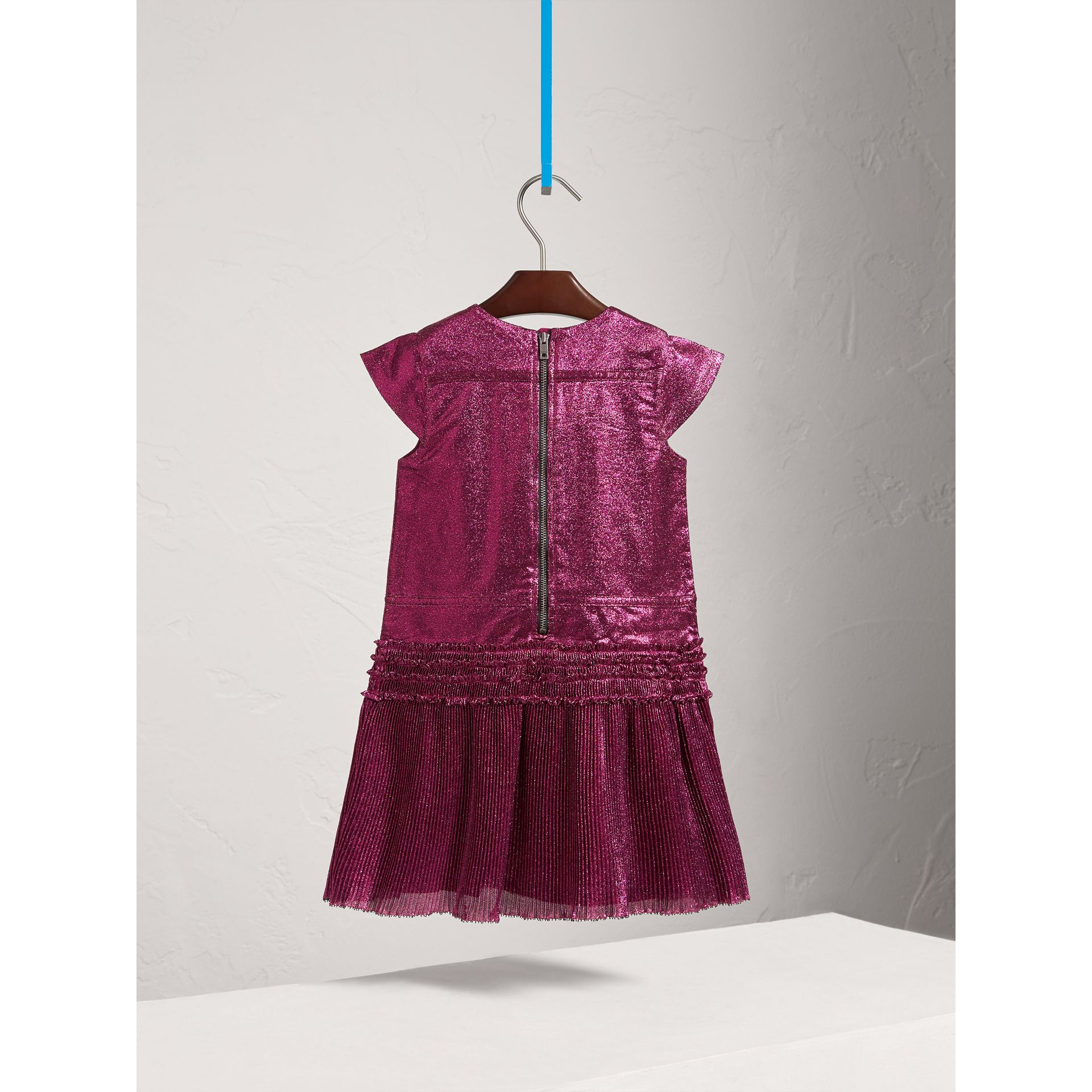 Frill Detail Lamé Dress in Bright Fuchsia - Girl | Burberry - gallery image 4