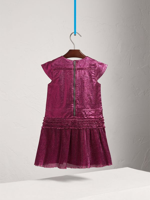 Frill Detail Lamé Dress in Bright Fuchsia | Burberry - cell image 3