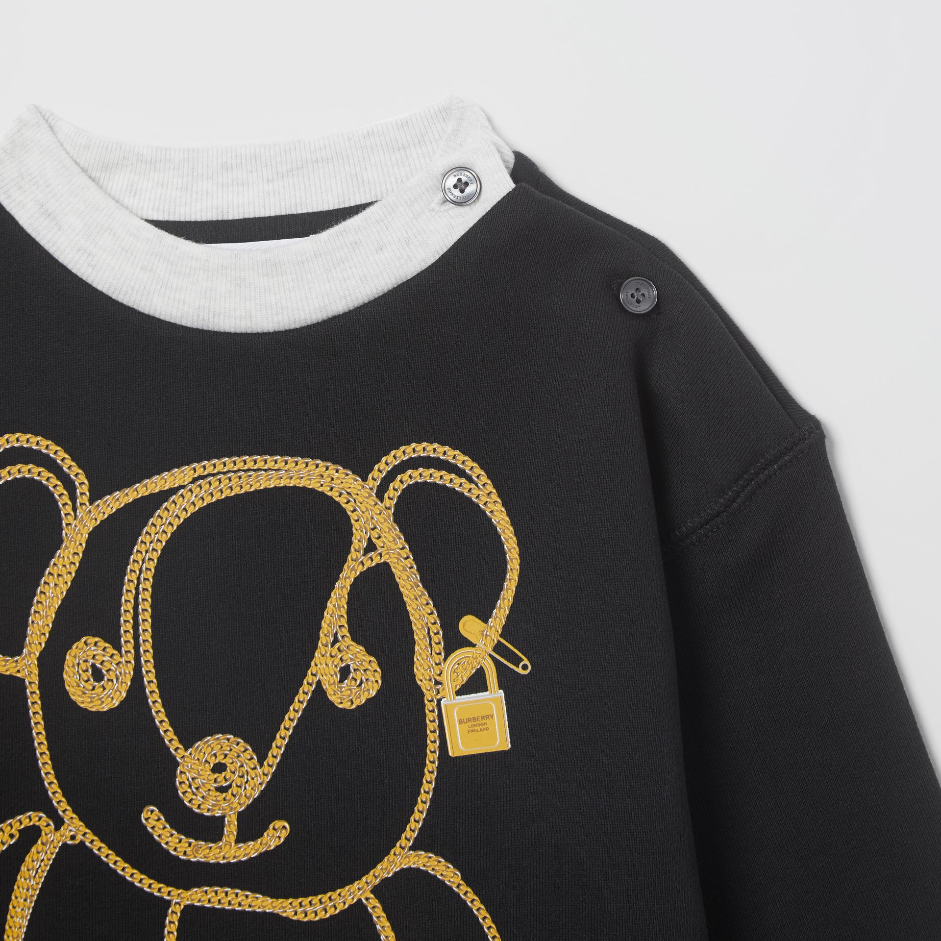 Chain Print Cotton Sweater Dress in Black - Children | Burberry - gallery image 4