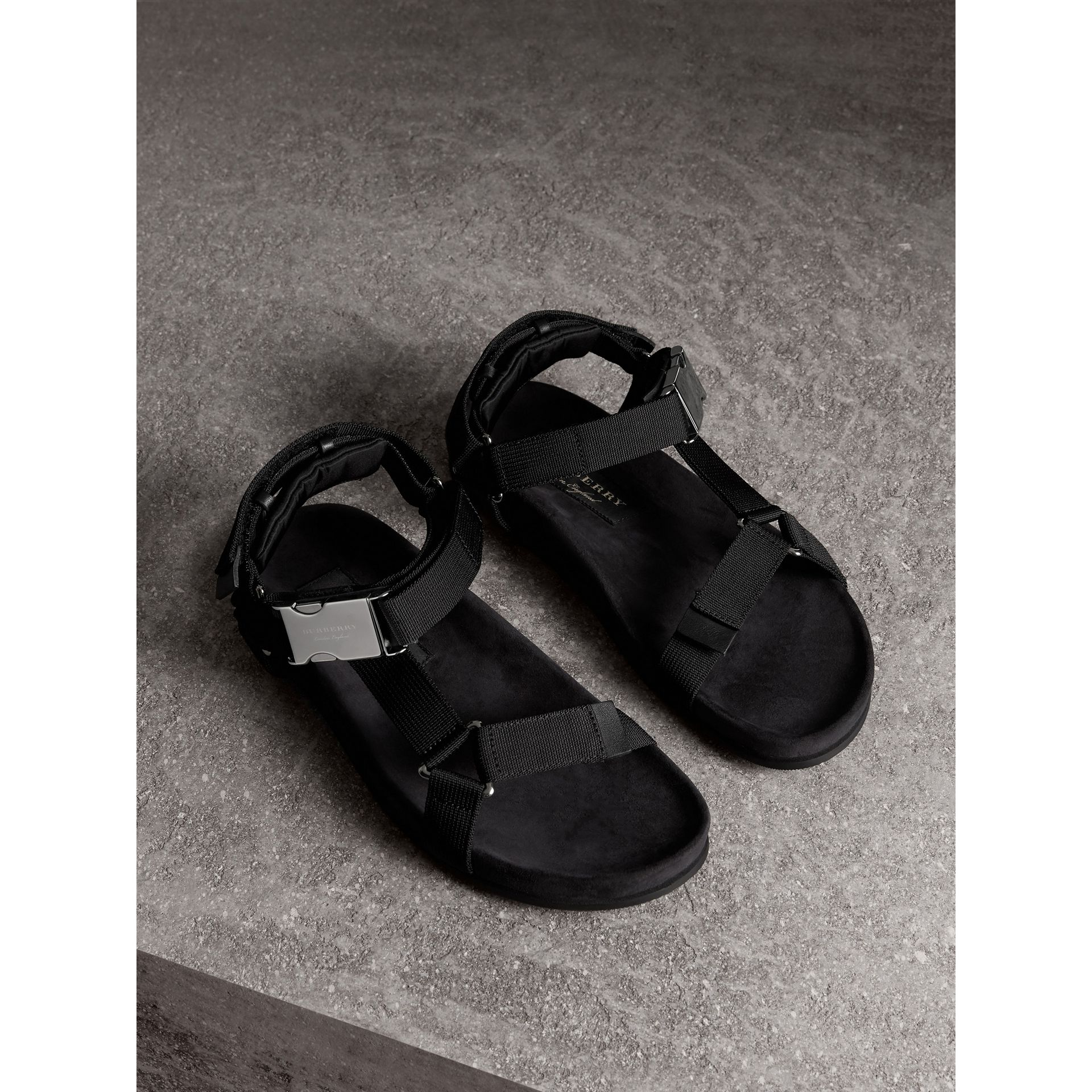 Three-point Strap Ripstop Sandals in Black - Men | Burberry - gallery image 0