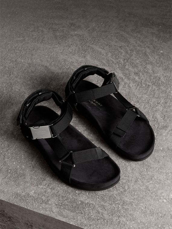 Three-point Strap Ripstop Sandals in Black