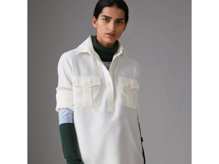 Silk Tunic Shirt in Natural White - Women | Burberry - cell image 4