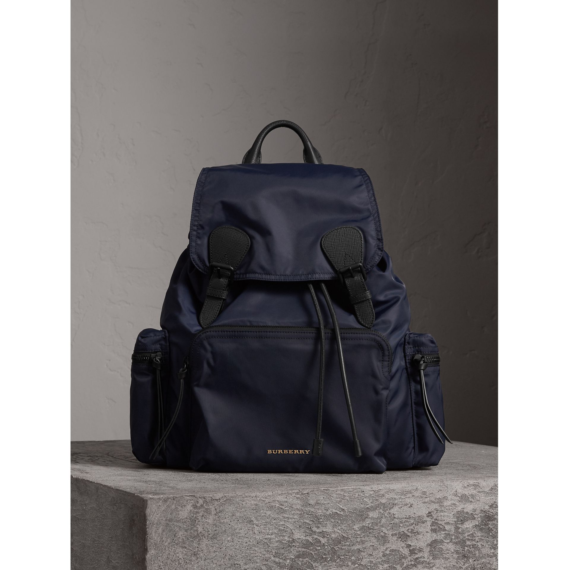 The Extra Large Rucksack in Technical Nylon and Leather in Ink Blue - Men | Burberry - gallery image 1