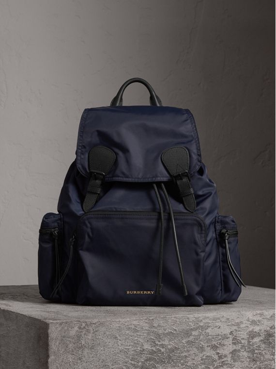 The Extra Large Rucksack in Technical Nylon and Leather in Ink Blue