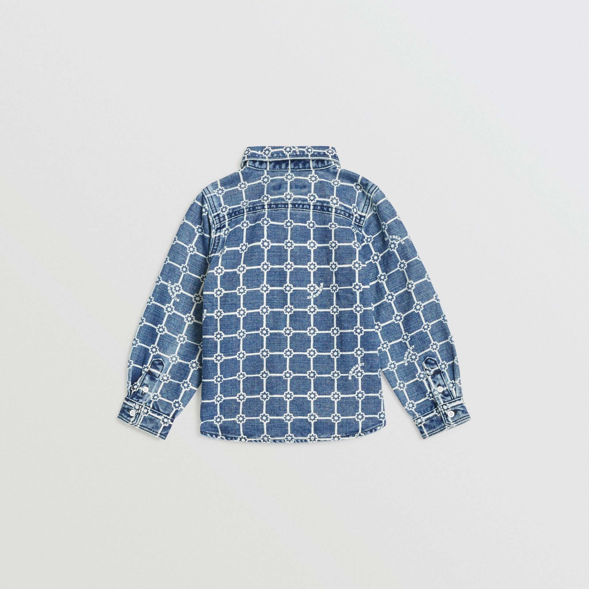 Flower Print Cotton Linen Shirt in Indigo | Burberry - gallery image 3
