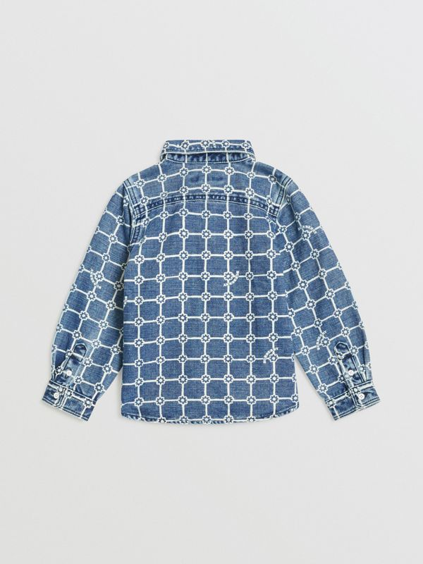 Flower Print Cotton Linen Shirt in Indigo | Burberry - cell image 3