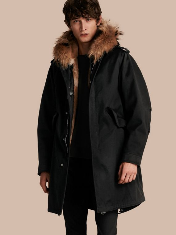 Cotton Sateen Parka with Fur Trim and Warmer