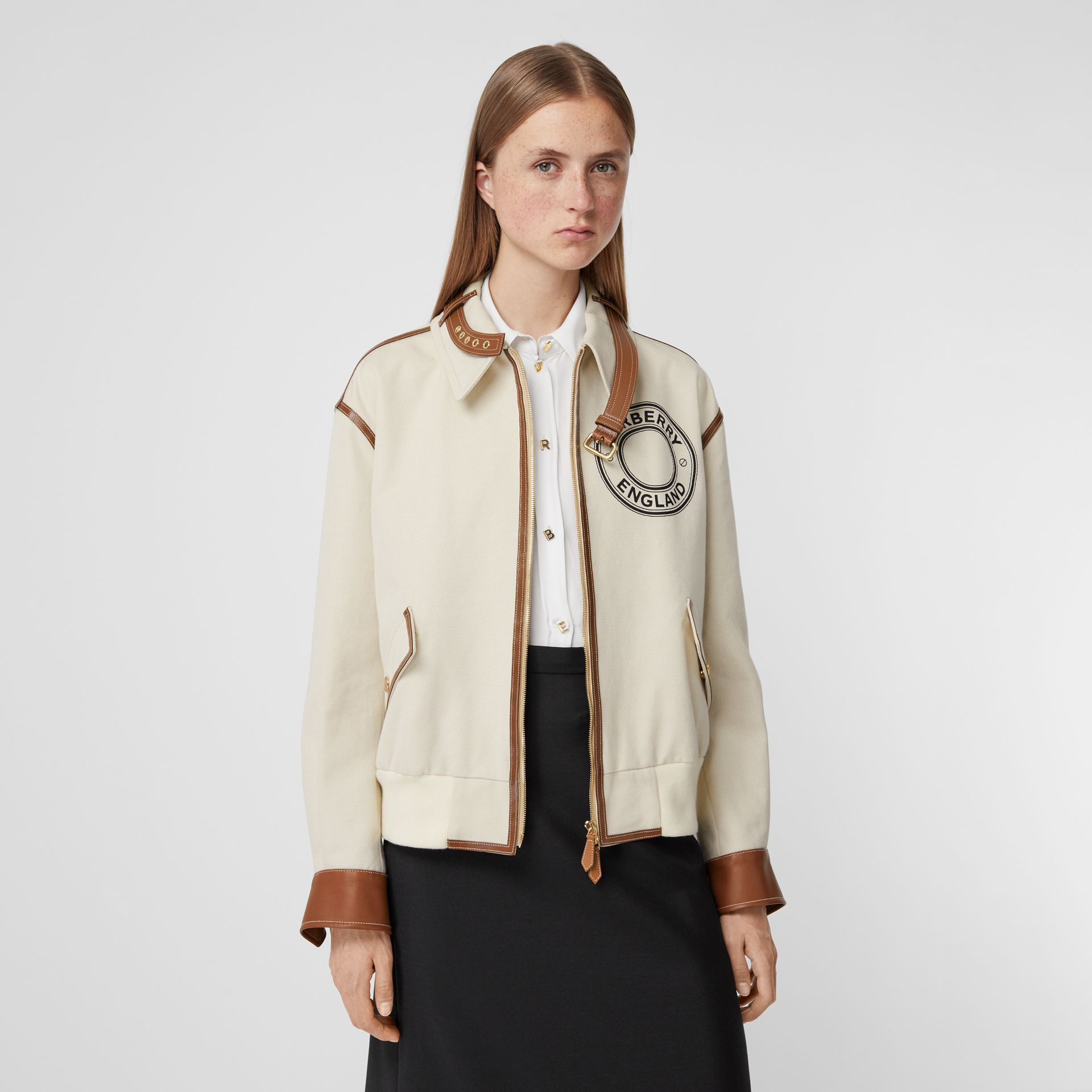 Logo Graphic Cotton Canvas and Lambskin Blouson in Vanilla - Women | Burberry Australia - gallery image 0