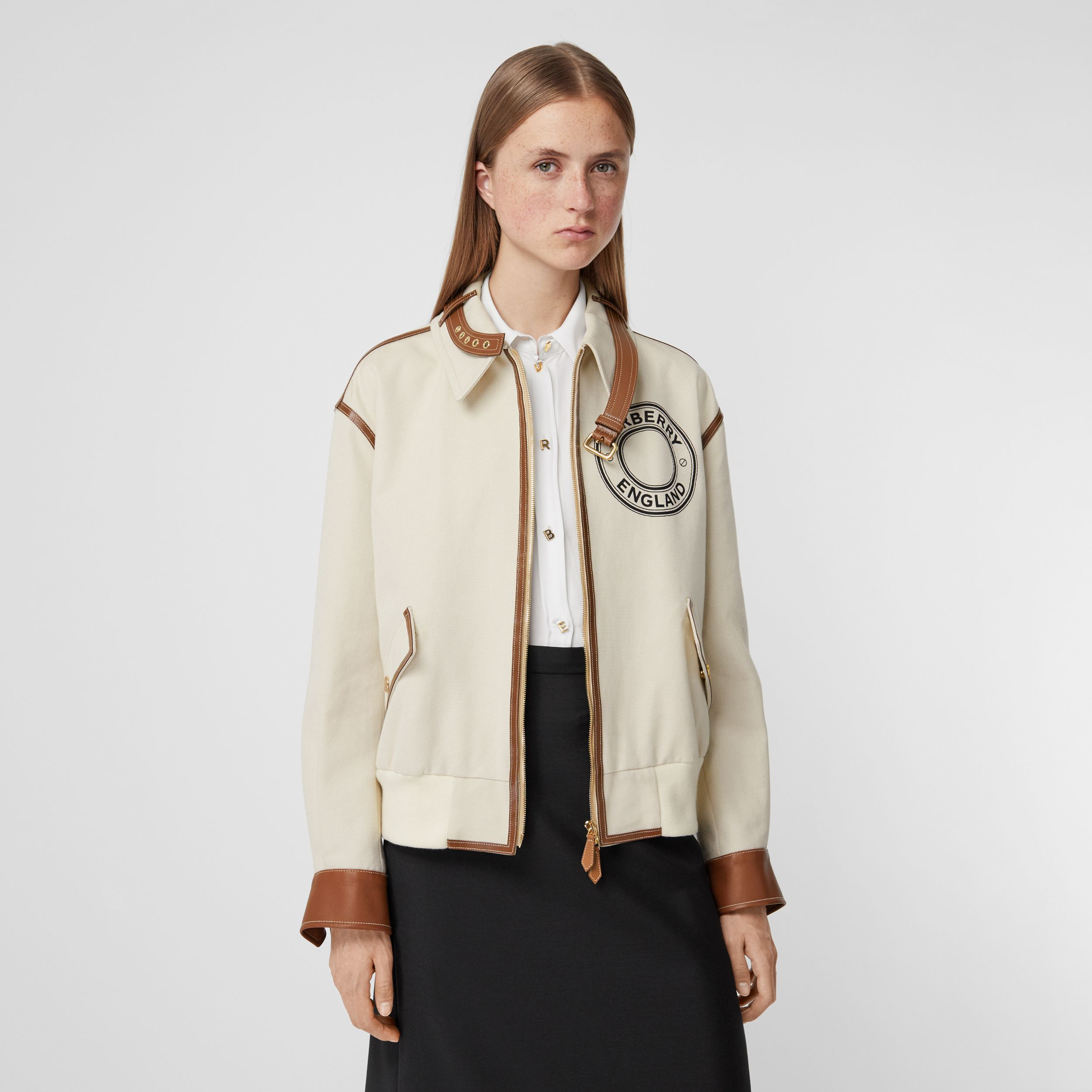 Logo Graphic Cotton Canvas and Lambskin Blouson in Vanilla - Women | Burberry - 1
