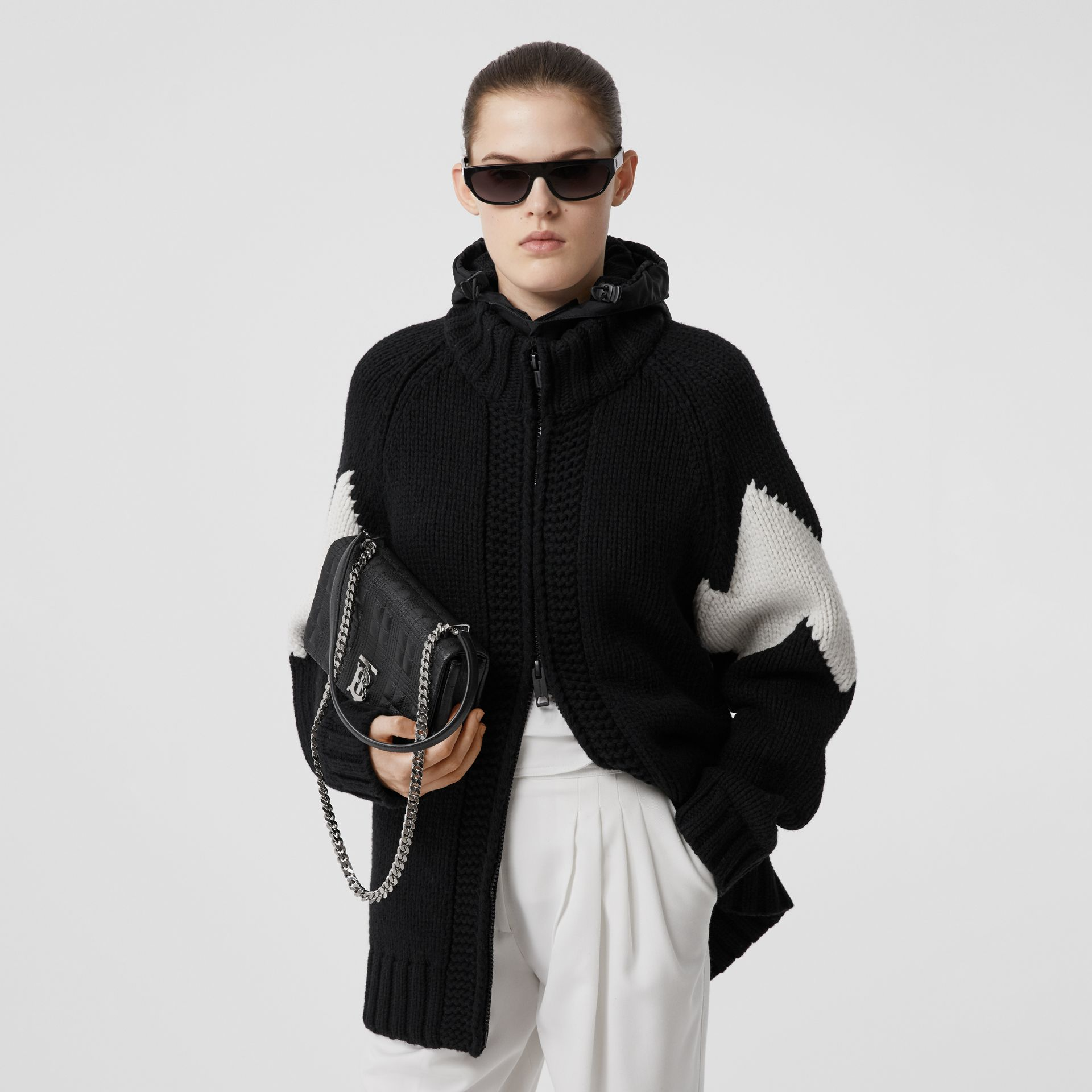 Detachable Hood Two-tone Wool Cashmere Cardigan in Black - Women | Burberry - gallery image 0