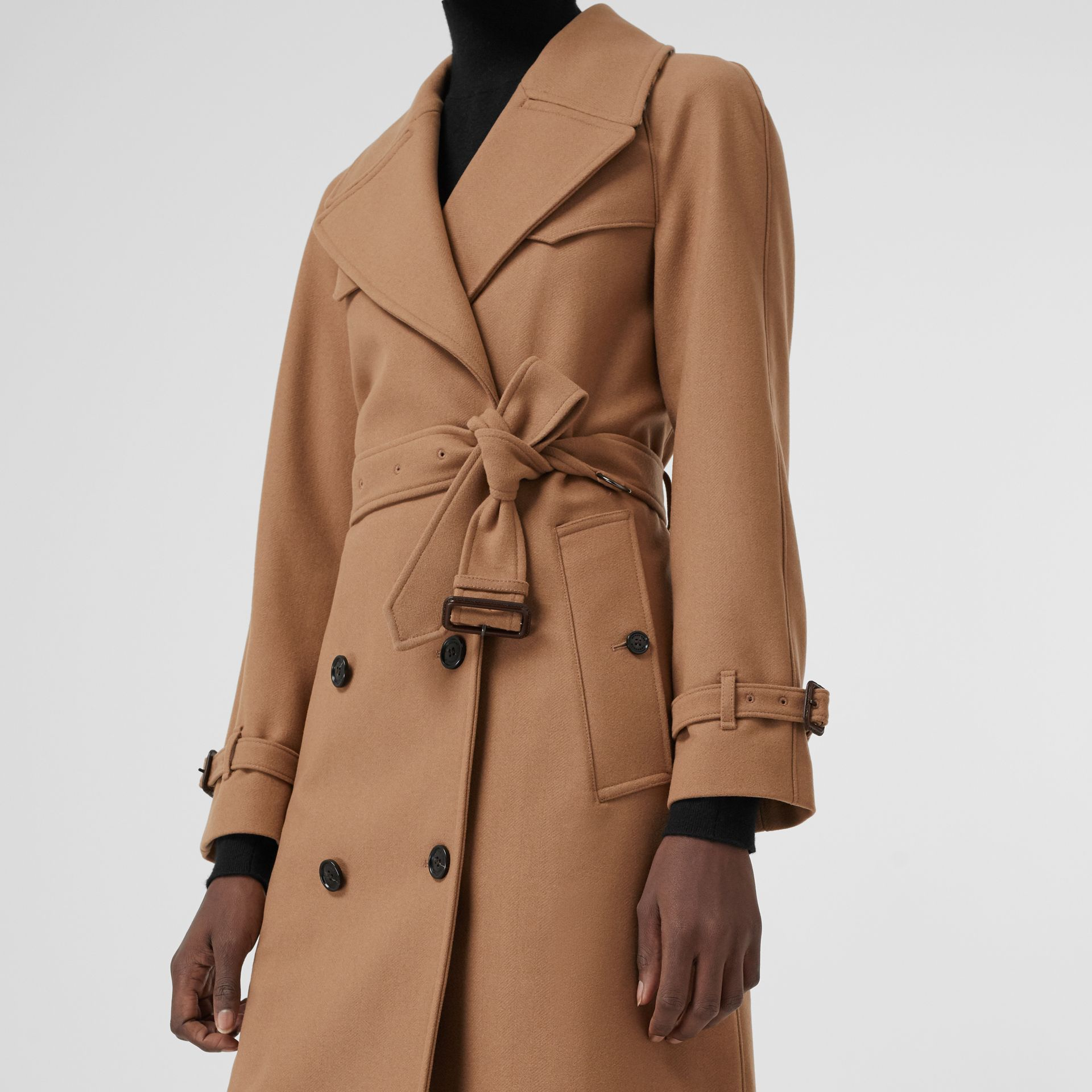 Herringbone Wool Cashmere Blend Trench Coat in Camel - Women | Burberry United Kingdom - gallery image 3