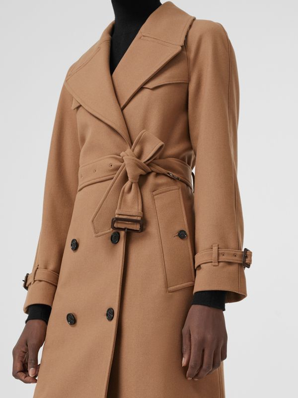 Herringbone Wool Cashmere Blend Trench Coat in Camel - Women | Burberry - cell image 3