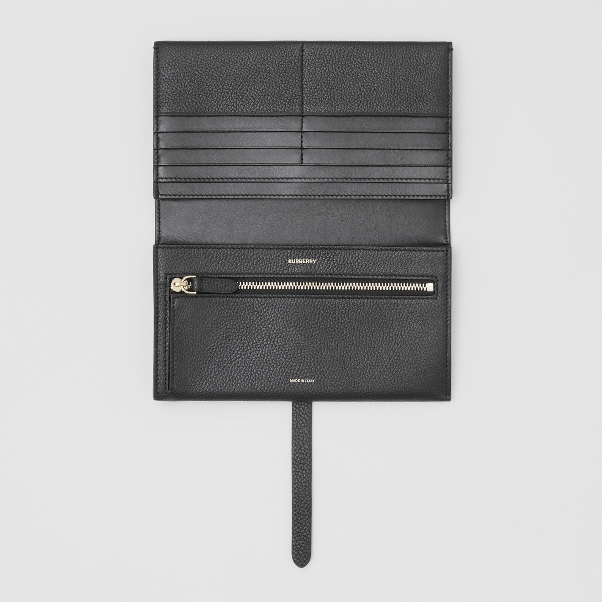 Monogram Motif Grainy Leather Folding Wallet in Black - Women | Burberry - gallery image 2