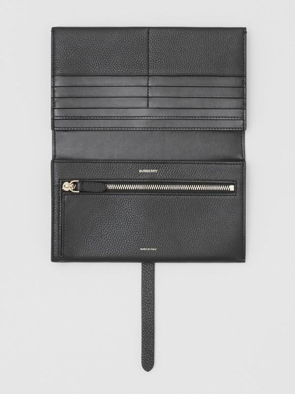 Monogram Motif Grainy Leather Folding Wallet in Black - Women | Burberry - cell image 2
