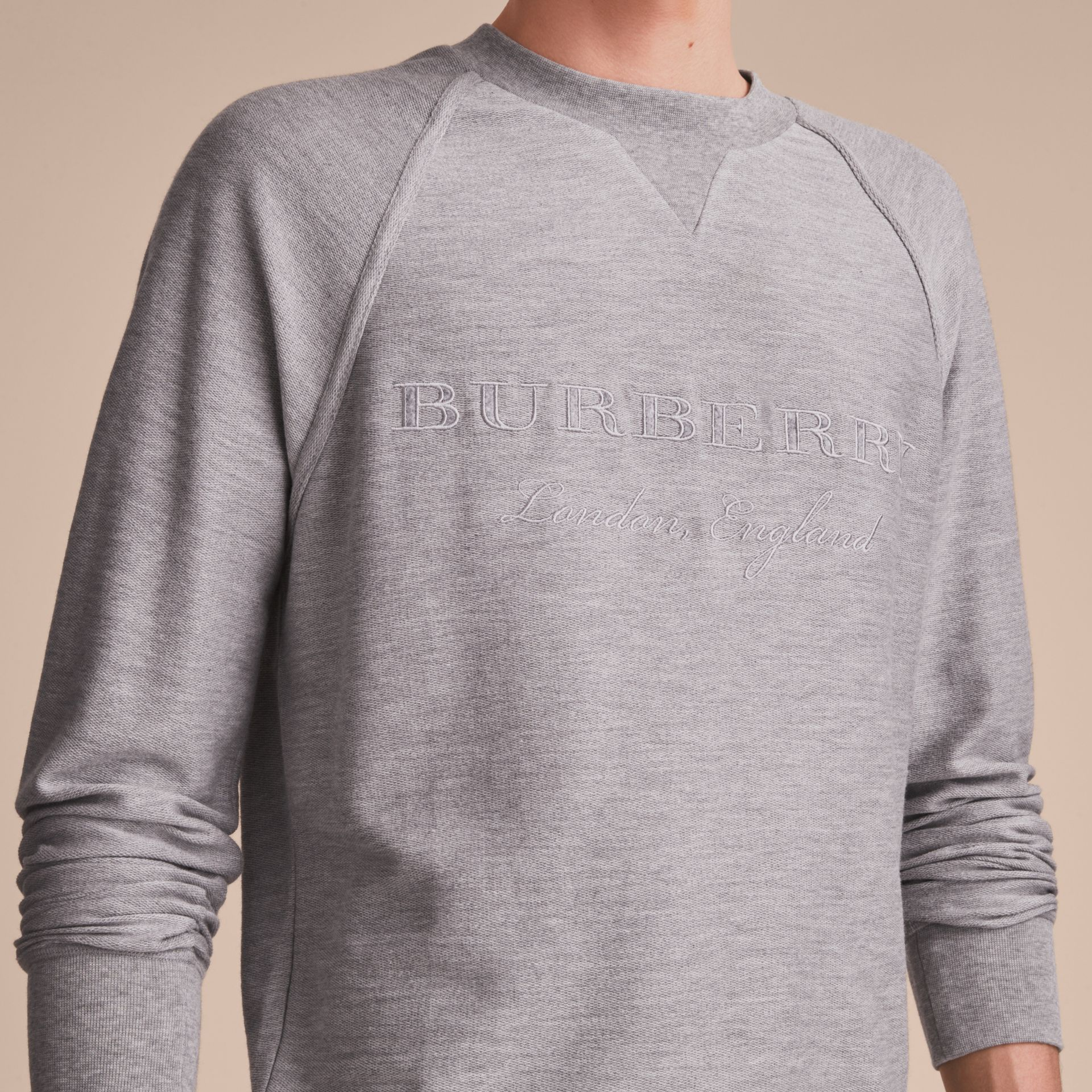 Embroidered Motif Cotton-blend Jersey Sweatshirt in Mid Grey Melange - Men | Burberry - gallery image 5