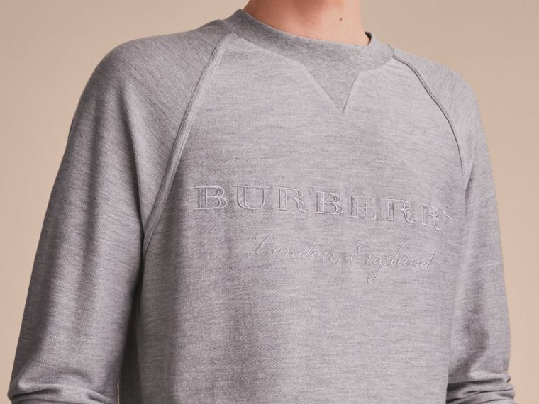 Embroidered Motif Cotton-blend Jersey Sweatshirt in Mid Grey Melange - Men | Burberry - cell image 4