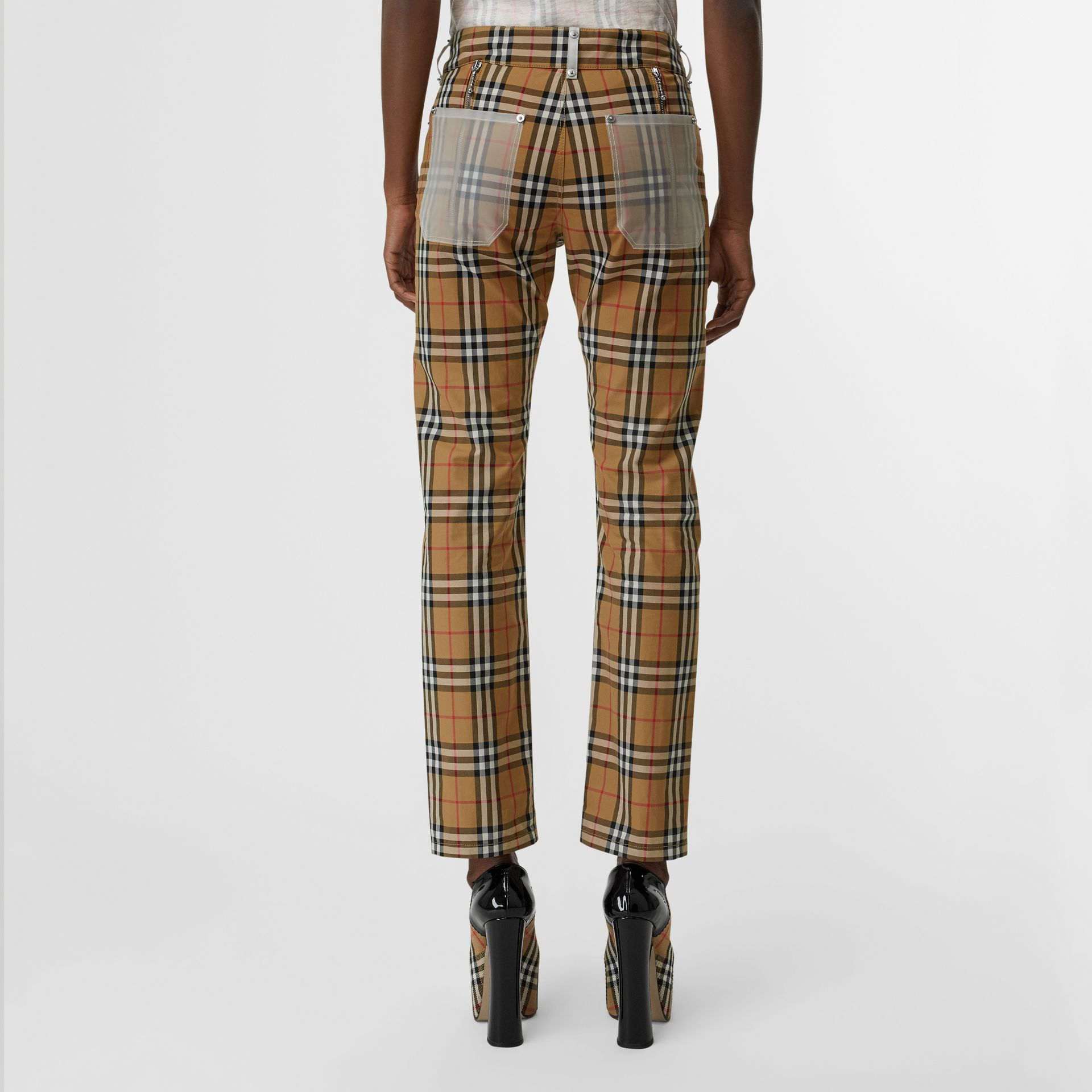 Zip Detail Vintage Check Cotton Trousers in Antique Yellow - Women | Burberry - gallery image 2