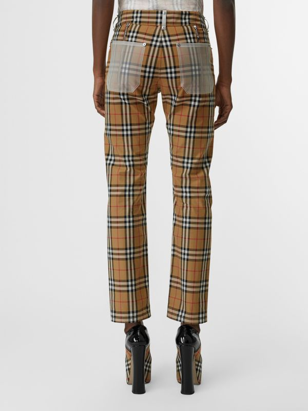 Zip Detail Vintage Check Cotton Trousers in Antique Yellow - Women | Burberry - cell image 2