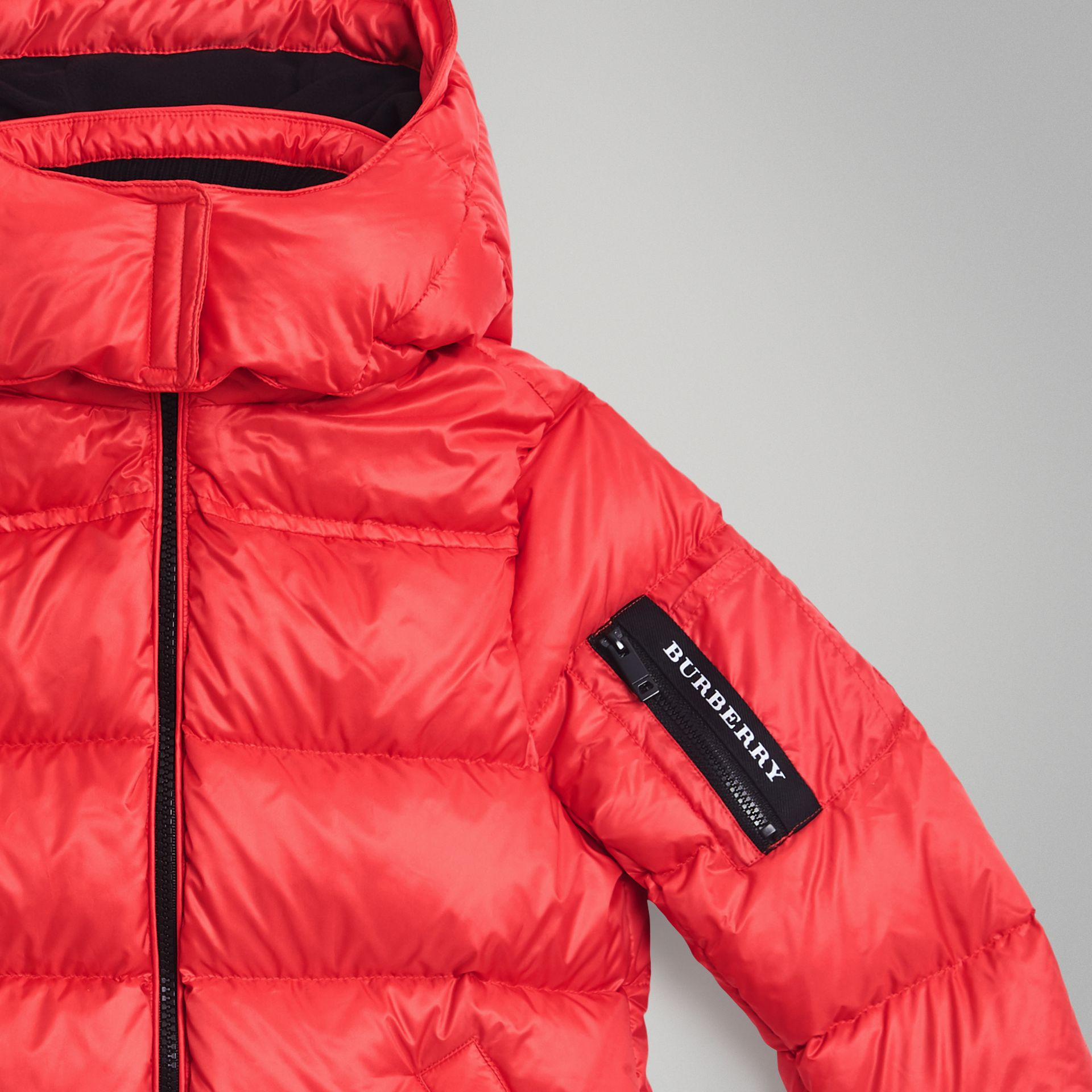 Detachable Hood Down-filled Puffer Coat in Bright Orange Red | Burberry Australia - gallery image 4