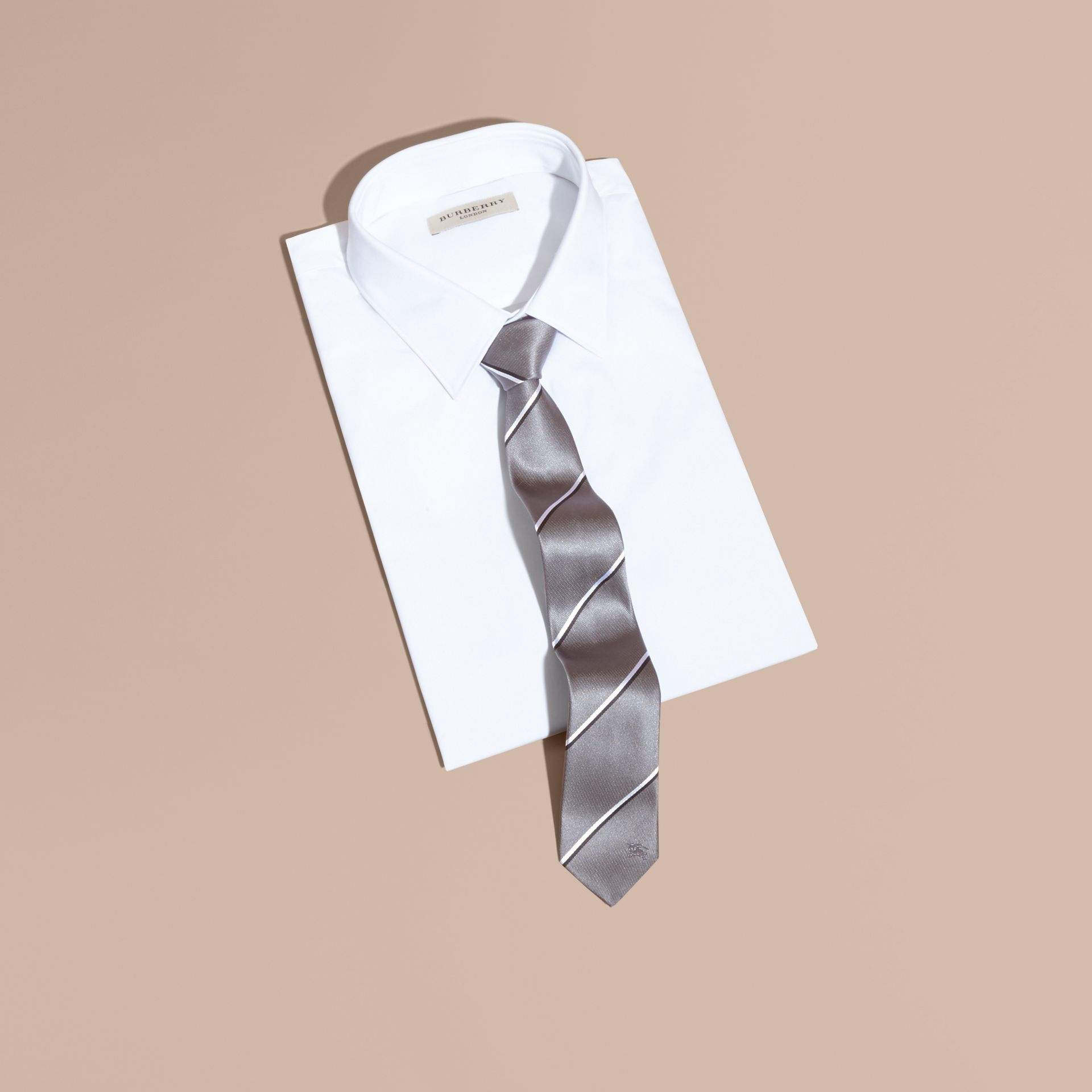 Slim Fit Striped Silk Tie in Charcoal - gallery image 3