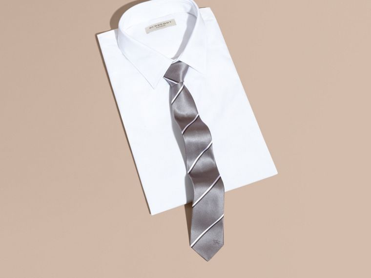 Slim Fit Striped Silk Tie in Charcoal - cell image 2