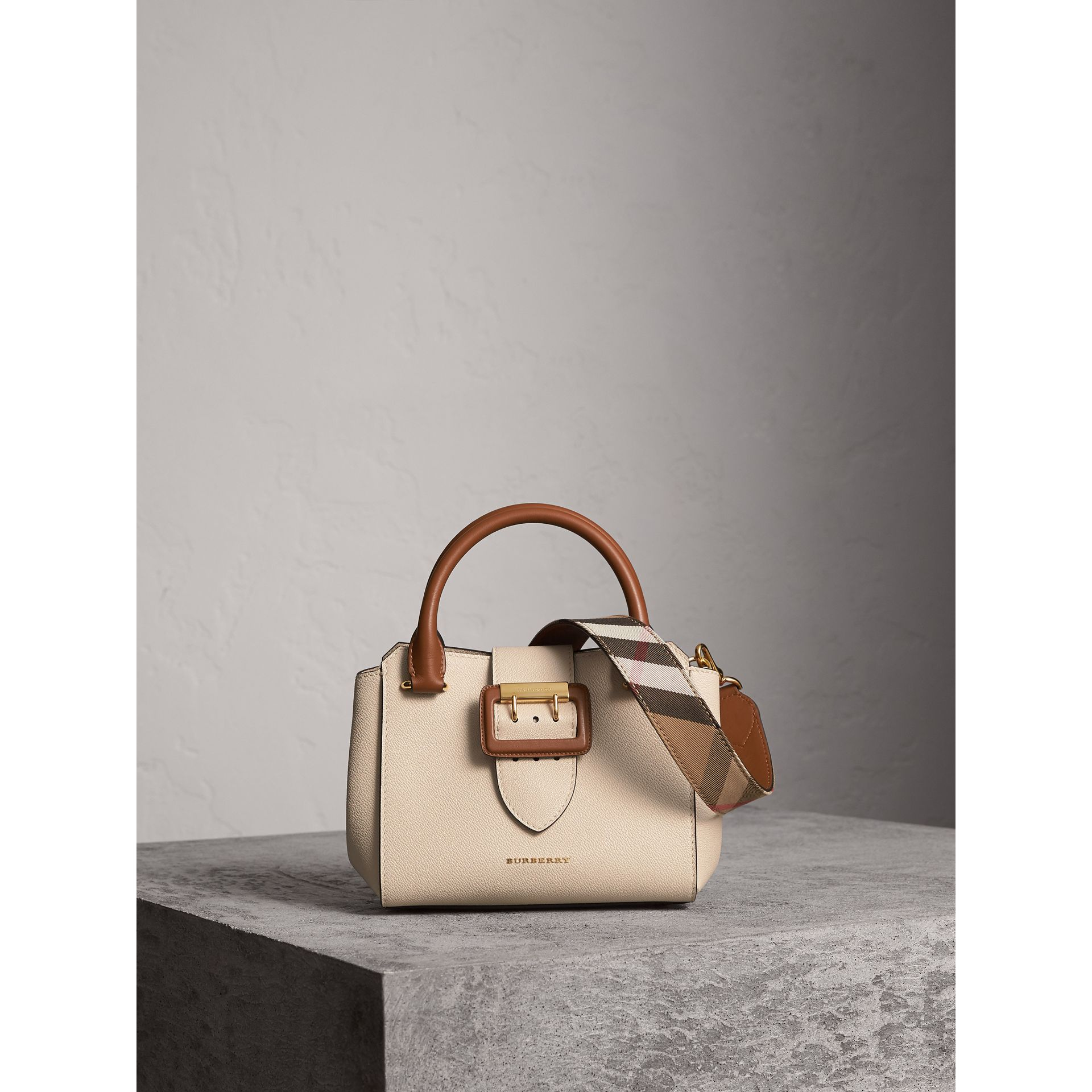 The Small Buckle Tote in Two-tone Leather in Limestone - Women | Burberry Australia - gallery image 1