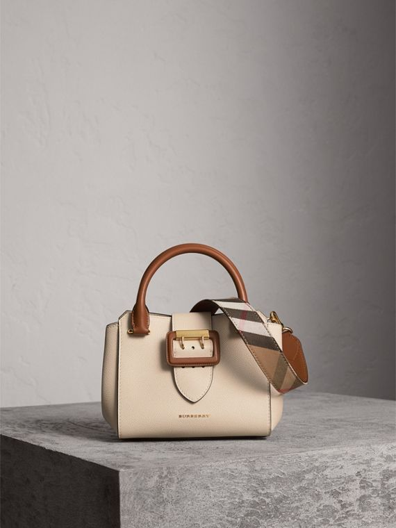 Borsa tote The Buckle piccola in pelle bicolore (Calcare)