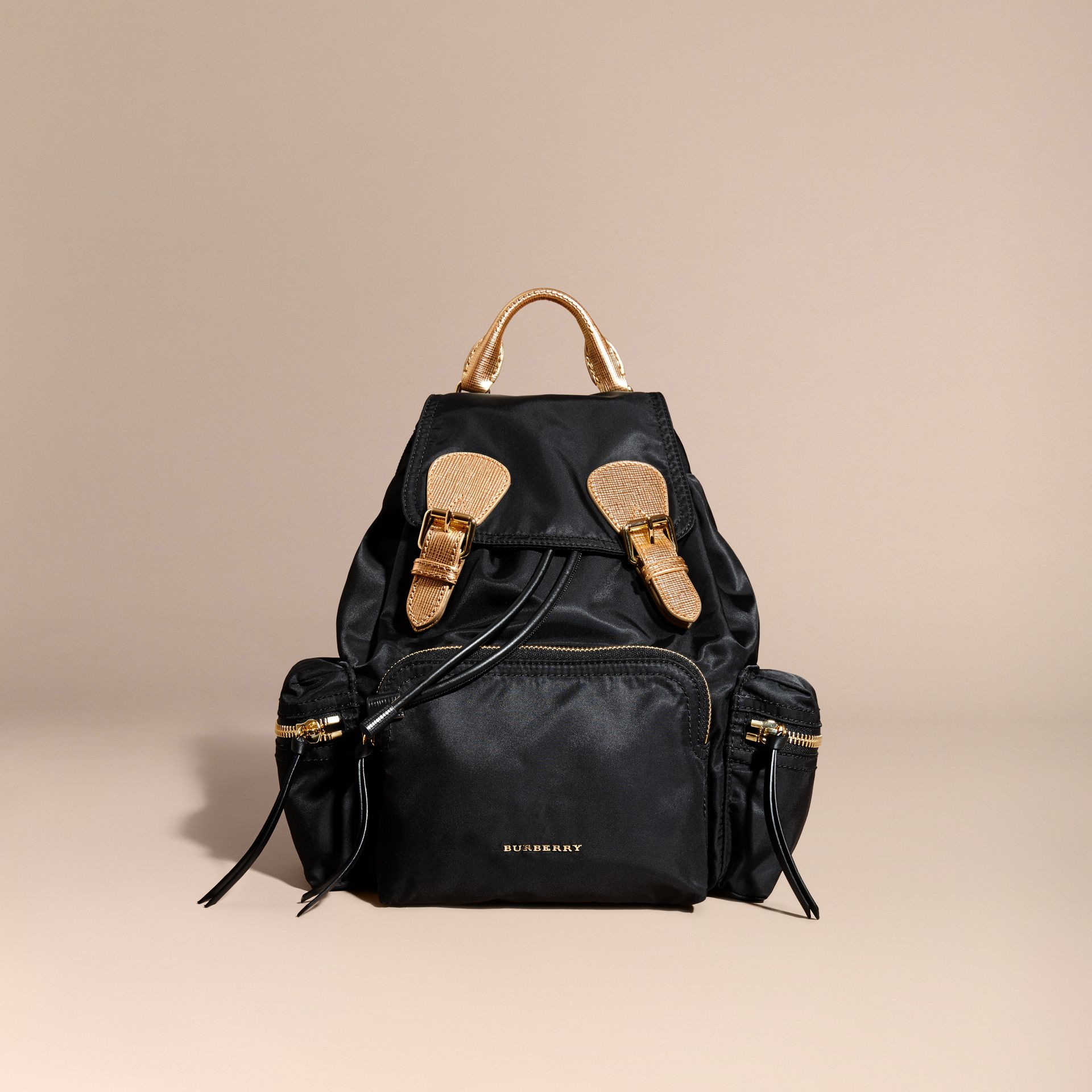 The Medium Rucksack in Two-tone Nylon and Leather Black/gold - gallery image 9