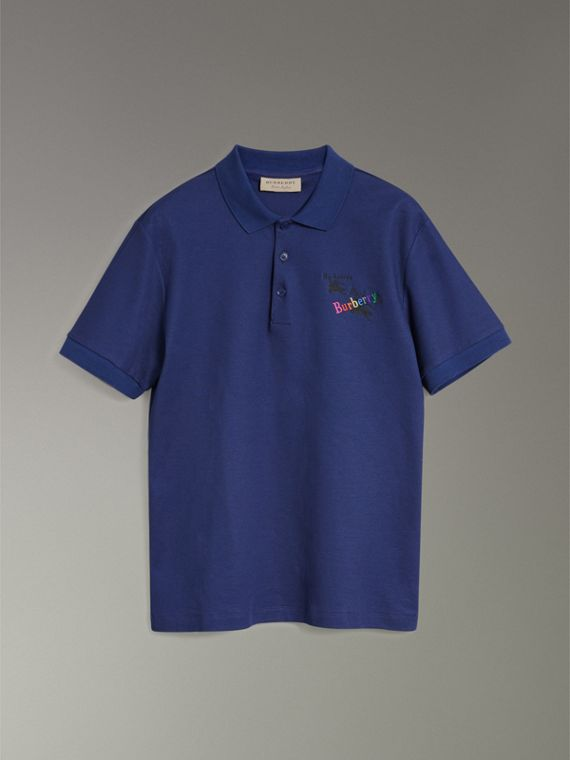 Triple Archive Logo Cotton Piqué Polo Shirt in Bright Indigo - Men | Burberry - cell image 3