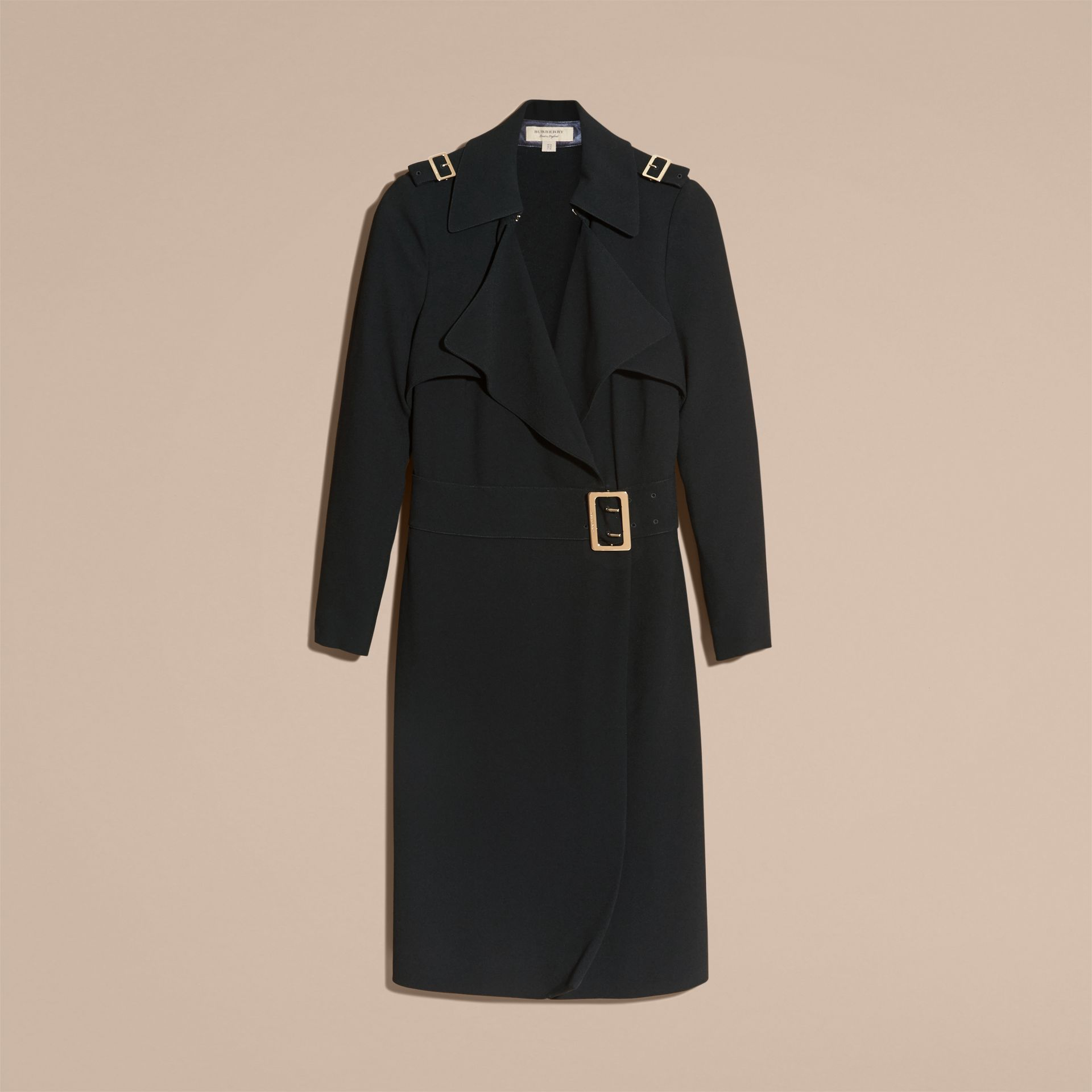 Buckle Detail Satin-back Crepe Trench Dress Black - gallery image 3
