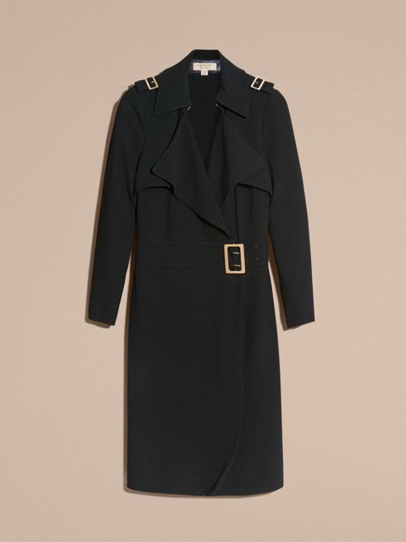 Buckle Detail Satin-back Crepe Trench Dress Black - cell image 2