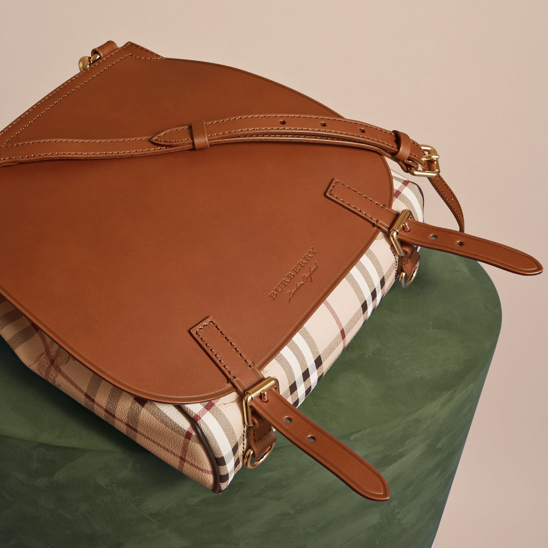 Tan The Small Bridle Bag in Leather and Haymarket Check Tan - gallery image 7