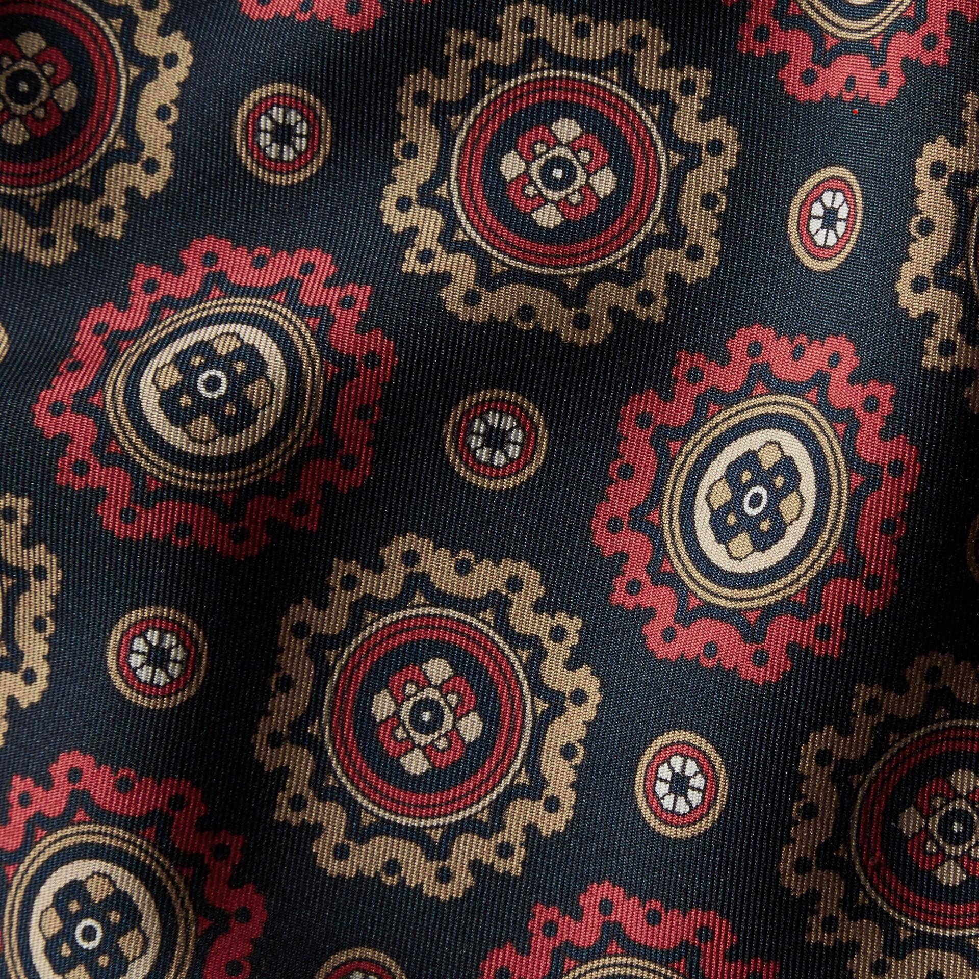 Navy Pyjama Print Cropped Silk Twill Pyjama-style Trousers - gallery image 2