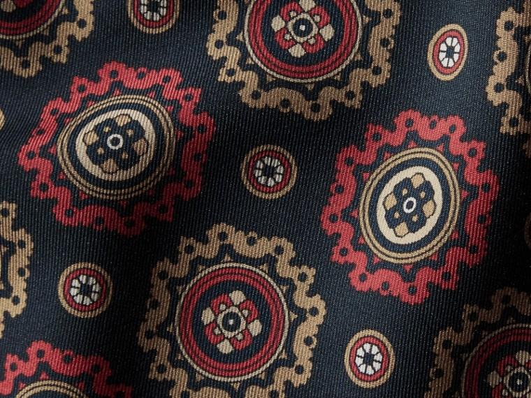 Navy Pyjama Print Cropped Silk Twill Pyjama-style Trousers - cell image 1