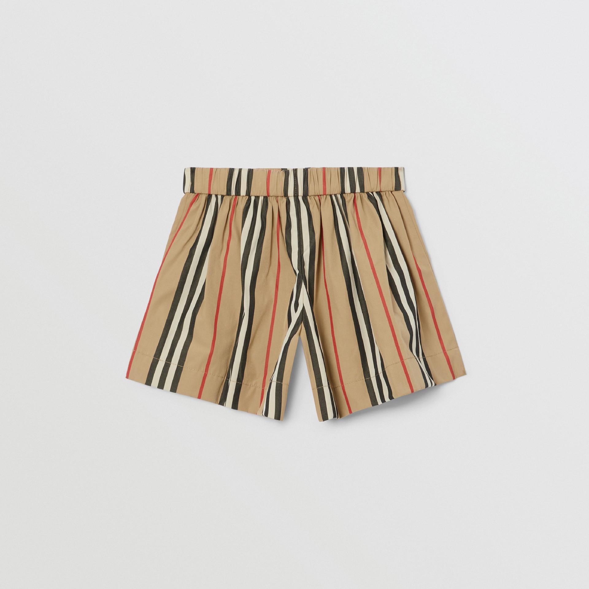 Icon Stripe Cotton Poplin Sailor Shorts in Archive Beige - Children | Burberry United Kingdom - gallery image 3