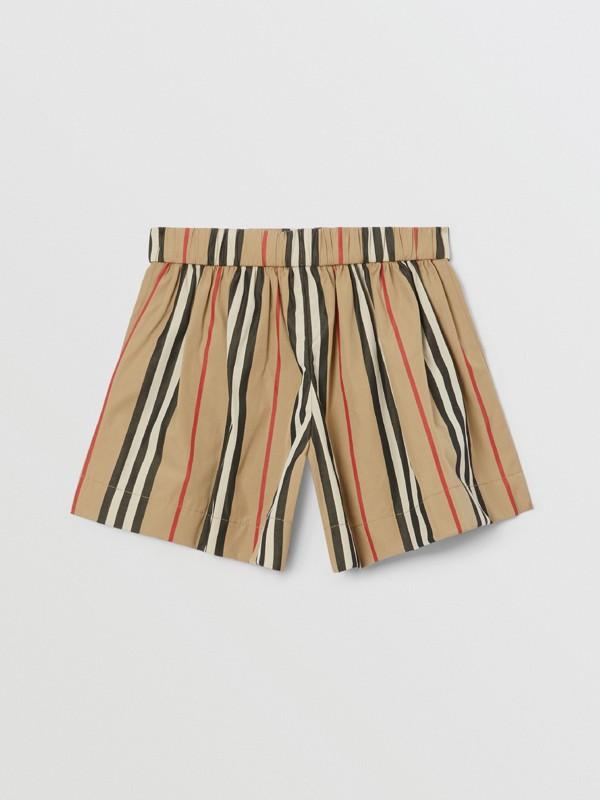 Icon Stripe Cotton Poplin Sailor Shorts in Archive Beige - Children | Burberry United Kingdom - cell image 3