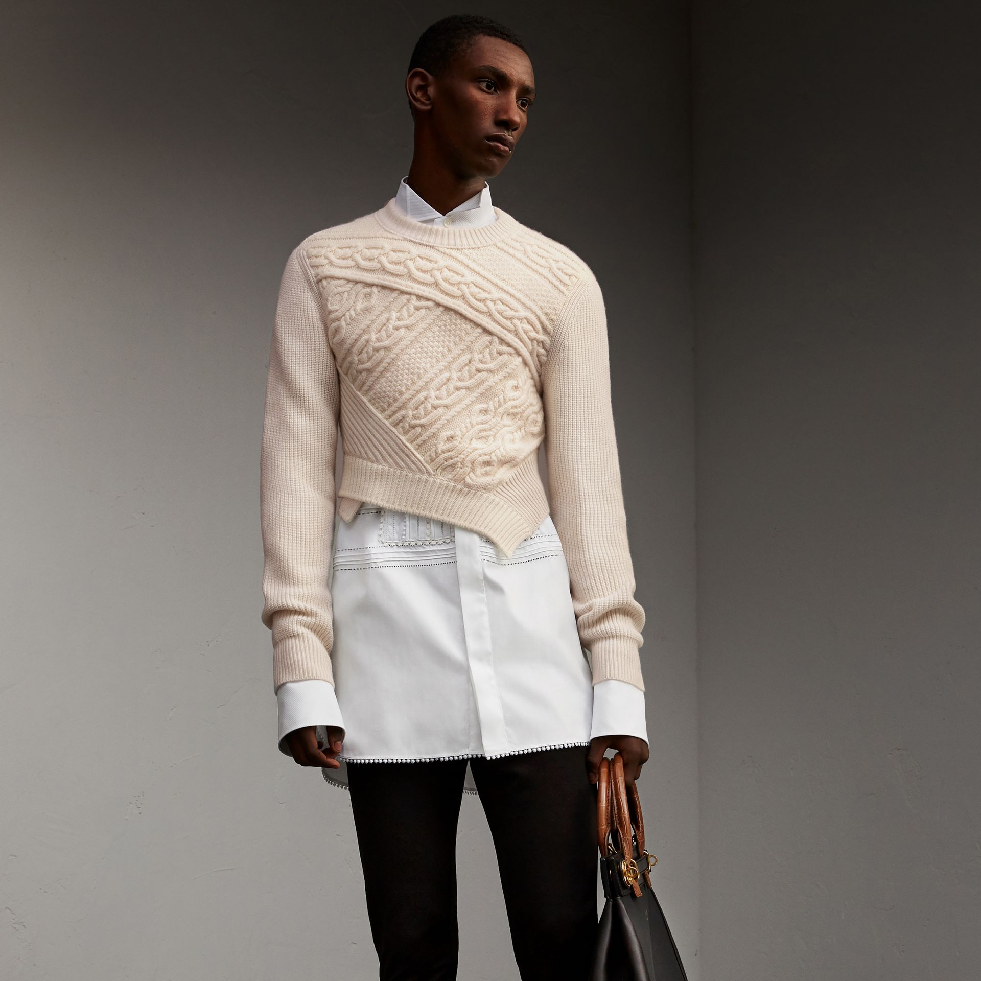 Cable Knit Cashmere Wool Cropped Sweater in Natural White - Men | Burberry United Kingdom - gallery image 1