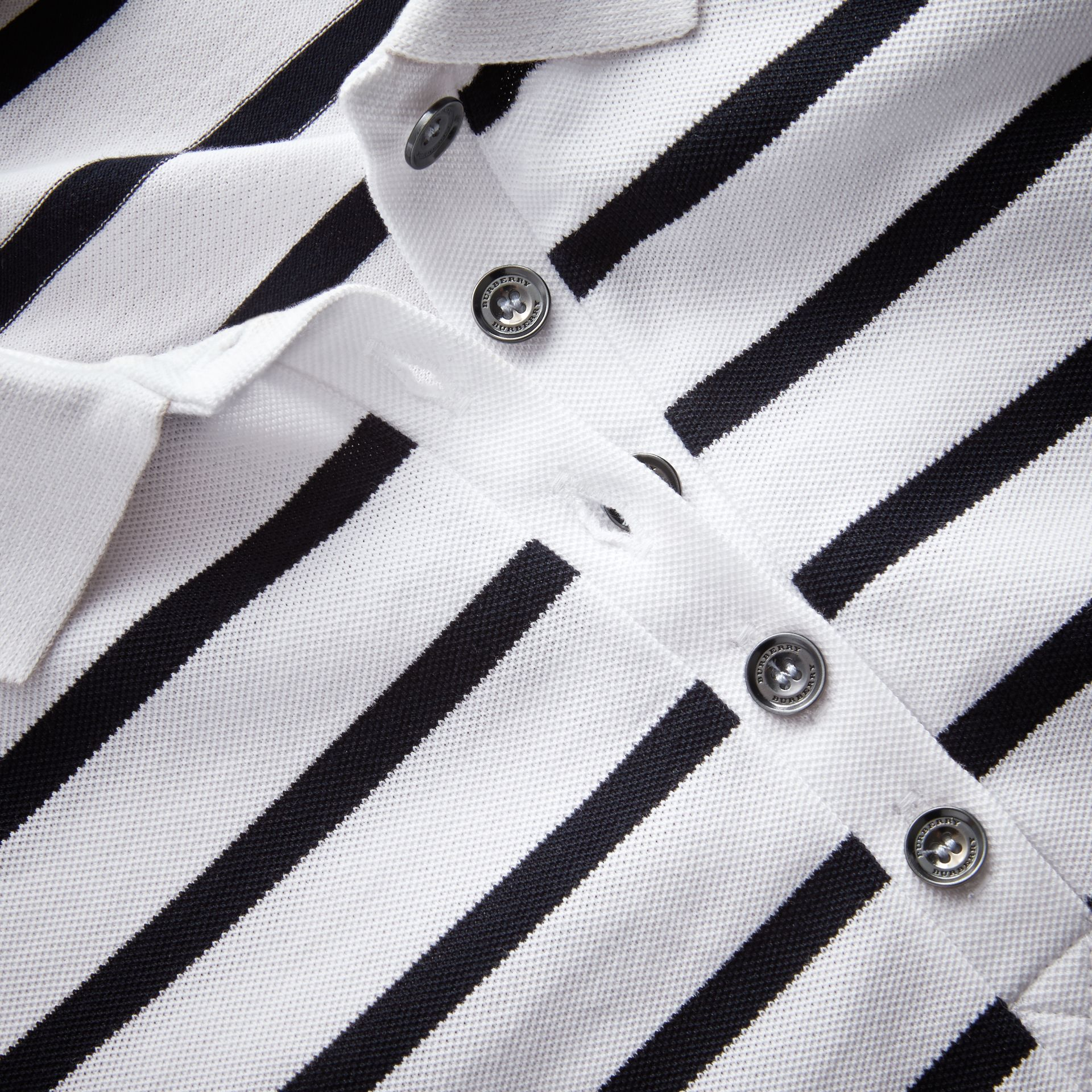 Striped Stretch Cotton Piqué Polo Shirt in White/navy - Women | Burberry - gallery image 2