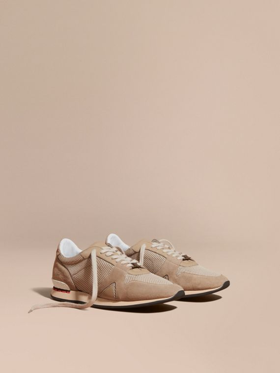 The Field Sneaker in Suede and Mesh Camel