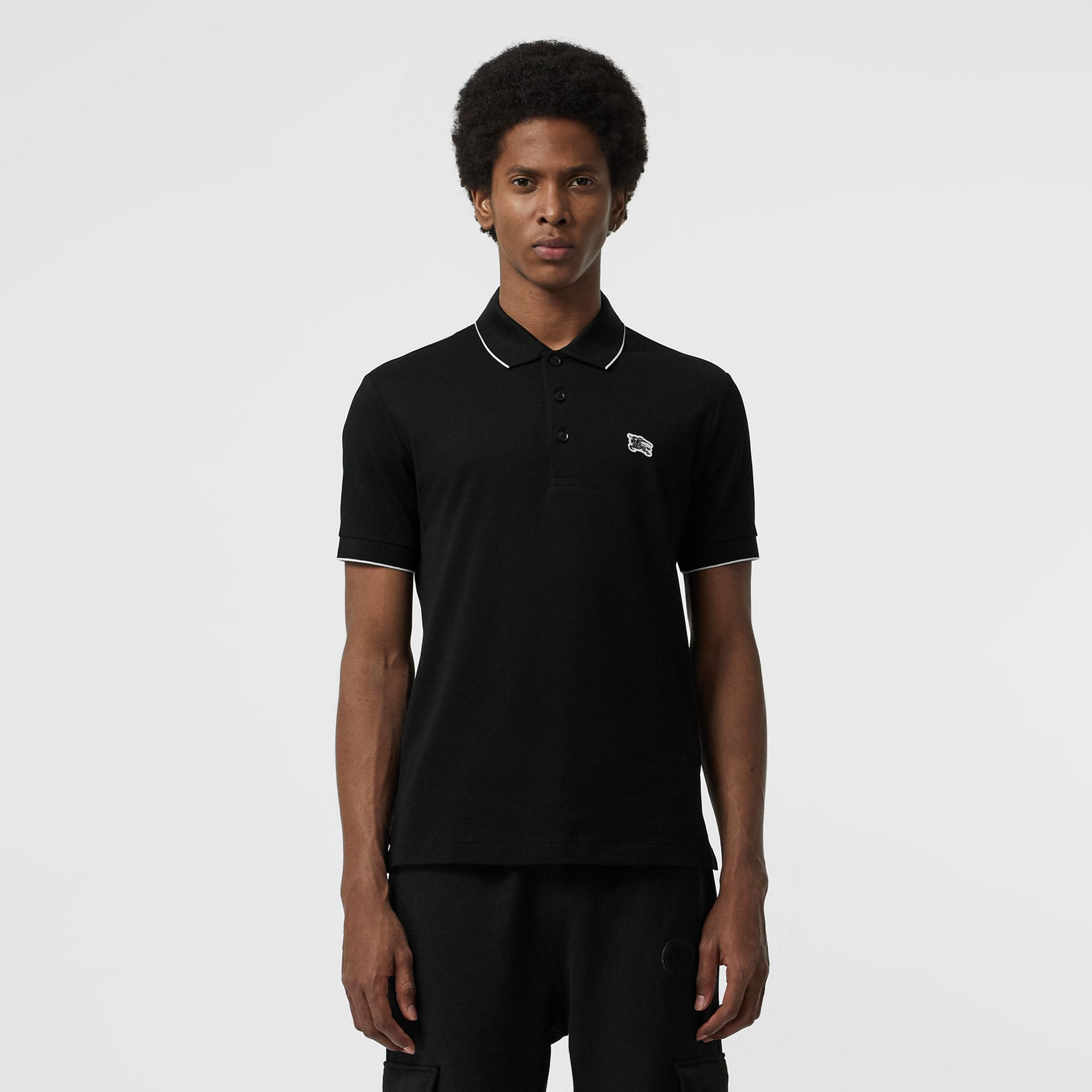 Tipped Cotton Piqué Polo Shirt in Black - Men | Burberry - gallery image 0