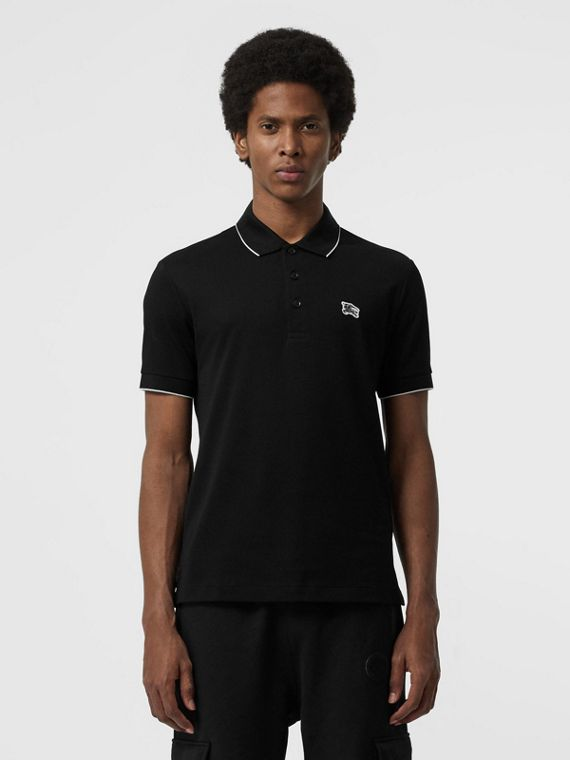 Tipped Cotton Piqué Polo Shirt in Black