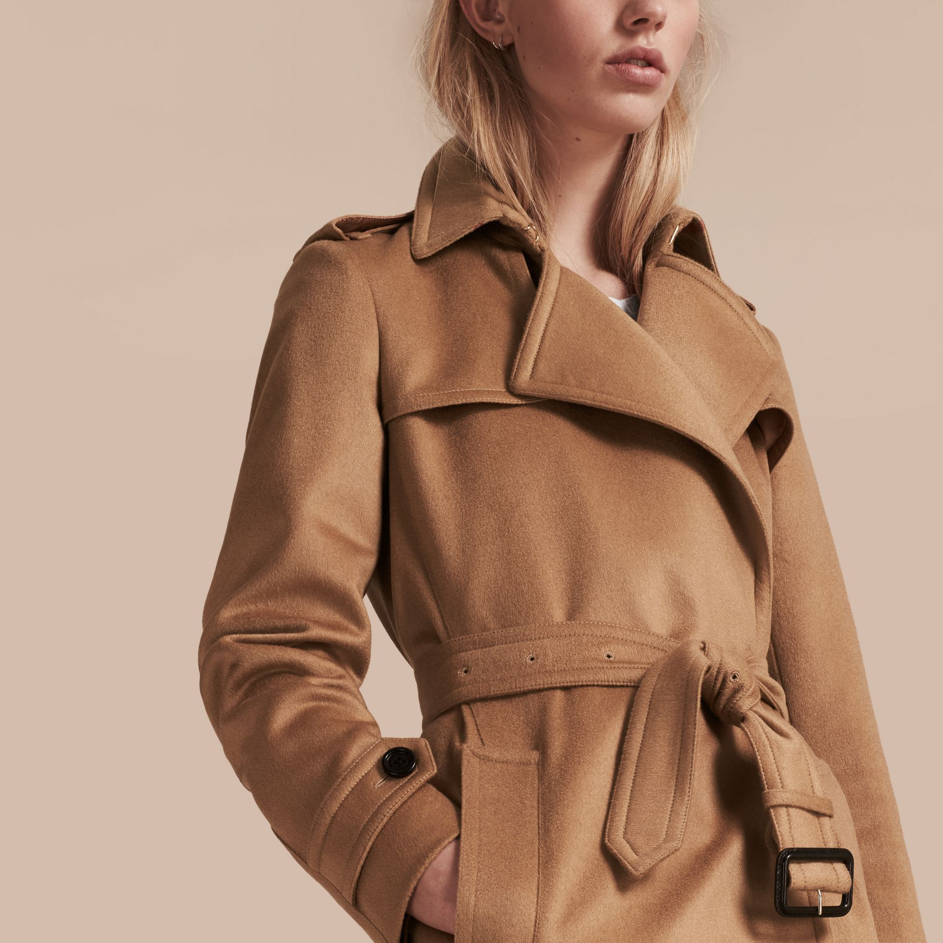 Camel Cashmere Wrap Trench Coat Camel - gallery image 6