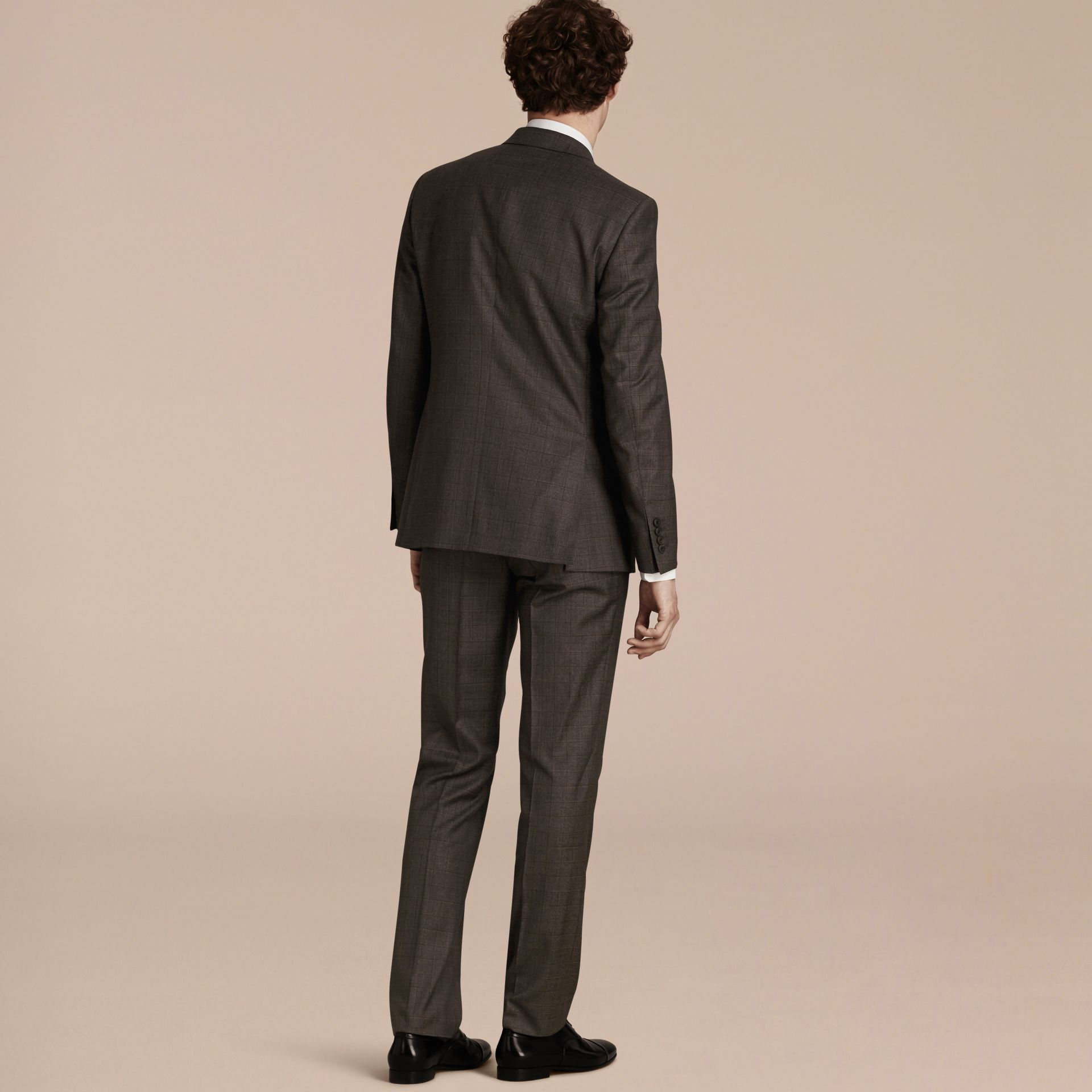 Dark grey melange Modern Fit Check Wool Part-canvas Suit - gallery image 3